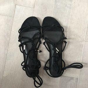 NWB black suede gladiator sandals sz 9
